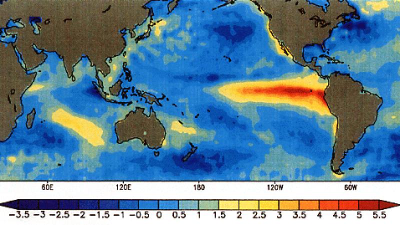 Odchylenie temperatury powierzchni wody od średniej wskutek El Nino