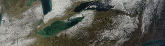 Wielkie Jeziora: zimowa panorama z kosmosu