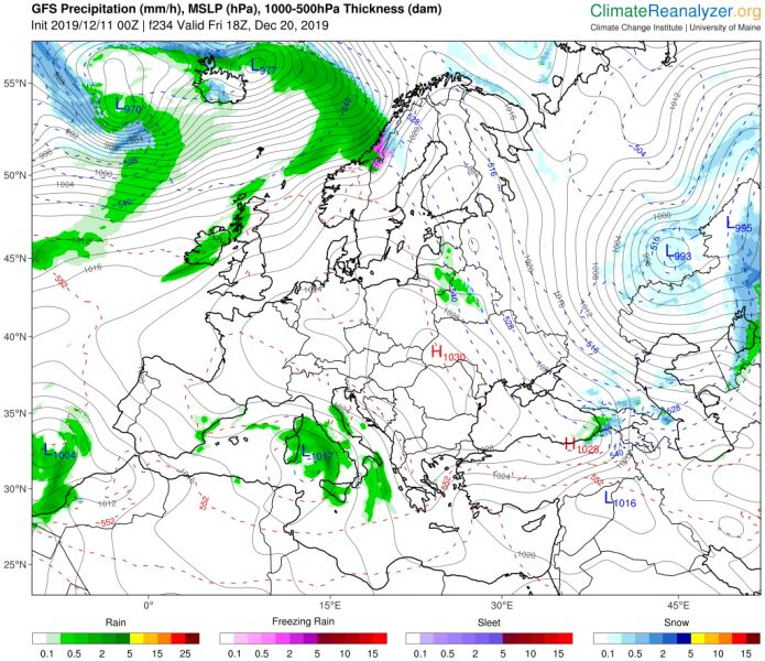 Polska przed świętami będzie pod wpływem wyżu (ClimateReanalyzer.org)