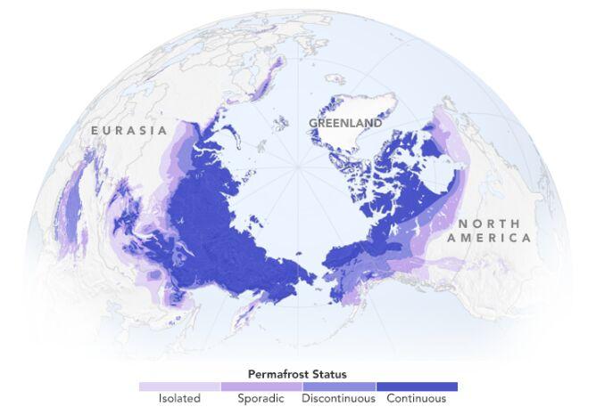 Zasięg wiecznej zmarzliny (Nasa Earth Observatory)