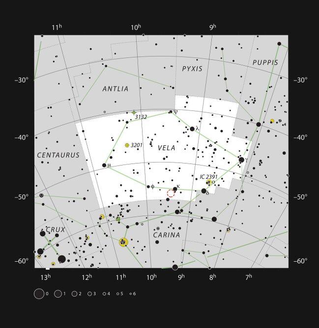 Lokalizacja NHC 2899 w gwiazdozbiorze Żagla (ESO, IAU and Sky & Telescope)