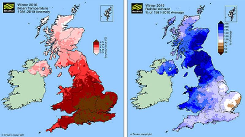 Odchylenie średniej temperatury (po lewej) i sumy opadów (po prawej) zimą 2015/2016 od średniej z wielolecia